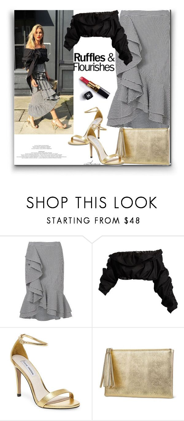 """Ruffles & Flourishes"" by arethaman ❤ liked on Polyvore featuring Intermix, E L L E R Y, Steve Madden, Jessica McClintock, Chanel, GetTheLook, ruffleskirt, ginghamskirt and offshouldertop"