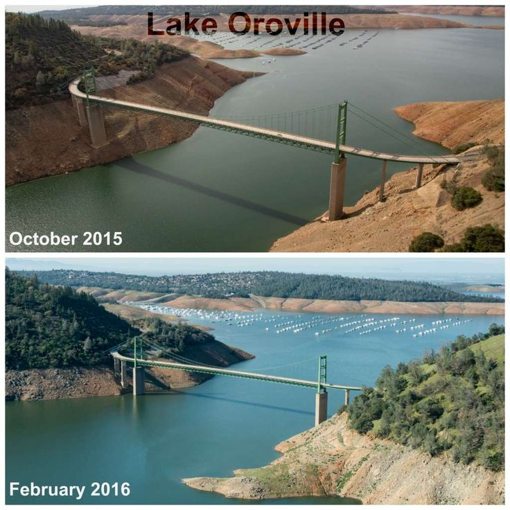 Lake Oroville Top: Aerial view at Lake Oroville showing low water level (drought conditions). View is of the Bidwell Bar Bridge, a.k.a. The Green Bridge. The highest reservoir bridge in North America, the 1965 Bidwell Bar suspension bridge crosses the Middle Fork of the Feather River at Lake Oroville. In the background is The Bidwell Marina, home to many pleasure yachts and houseboats. Shot July 20, 2015 by Paul Hames Bottom: Aerial view of Lake Oroville and The Bidwell Bar Bridge on…