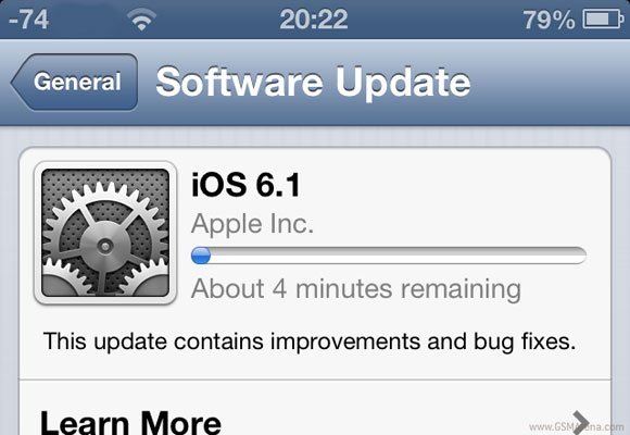 iOS 6.1 Released, Update your Current iOS version now
