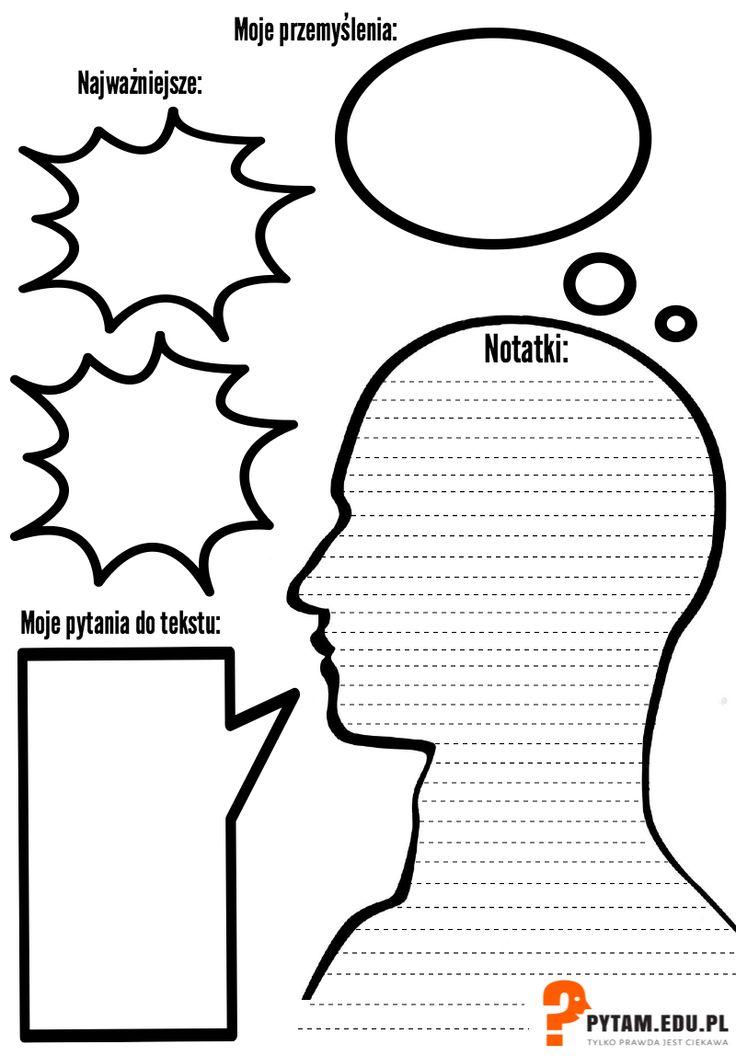 Arkusz pomocny w robieniu notatek. Może być inspiracją do własnego pomysłu.