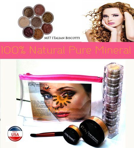 Itay Mineral Cosmetics 8 Stack Eye Shimmers in Nature Beauty+ Luminous, Glowing, Flawless Finish Full Size 9 Gram Foundation in MF7 Italian Biscotti+Eye Primer+Oval Eye Shimmer Brush+Airplane Travel Cosmetic Bag (Bundle of 5 Items). 1 ITAY Mineral Cosmetics 8 Stack Eye Shimmers in Nature Beauty. Colors include: Cream elegance #1,Sepia #38 Jador #7,Karina #17,Nature #133 ,Soft copper #142,Hot bronza #16,Hot plump #14. 1 Itay Mineral Cosmetics Luminous,Glowing, Flawless Finish Full Size 9…