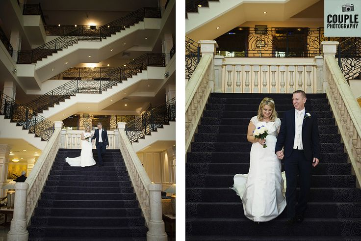 The bride & groom on that amazing Heritage staircase. Weddings at The Heritage Hotel by Couple Photography.