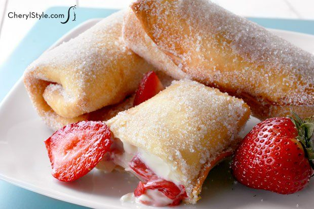 Strawberry cheesecake chimichangas. A great dessert addition to Mexican night, these sweet chimis are best when garnished with sliced berries, whipped cream and chocolate sauce. They're simple to make, but look really impressive…