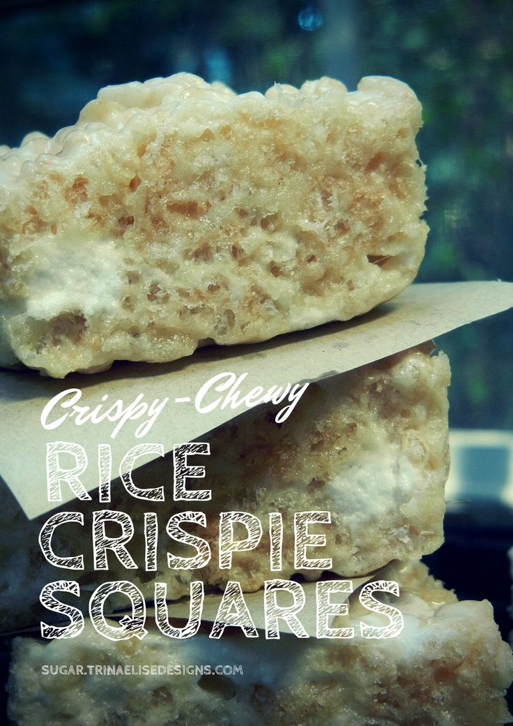The ultimate chewy-crispy rice crispie recipe ever!  Get the full recipe at http://sugar.trinaelisedesigns.com/chewy-crispy-rice-crispies/ and follow the Sugar. blog for more delicious sweet treats!  #sugar. #ricekrispies #ricecrispies #ricekrispiesquares