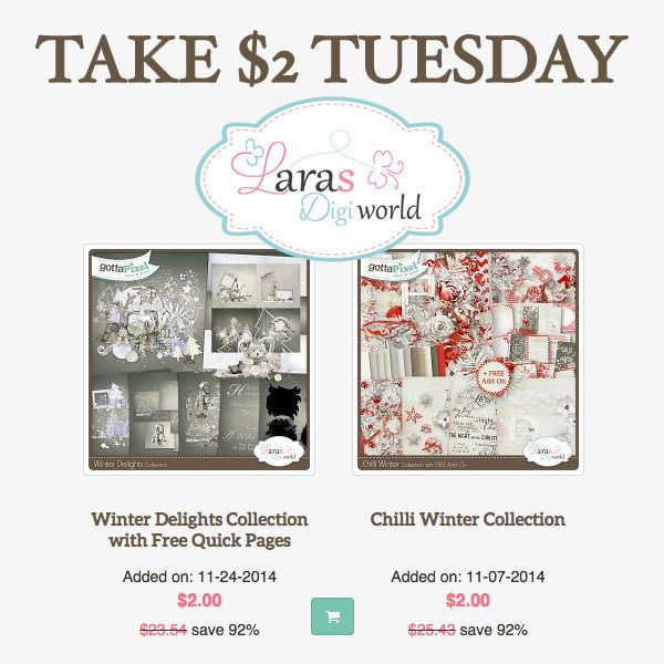 Lara's Digi World is going crazy! Have you seen her 2 products in Take $2 Tuesday category? She's giving away whole bundled collections for only $2! Only for a limited time!  Happy Christmas in July everyone!