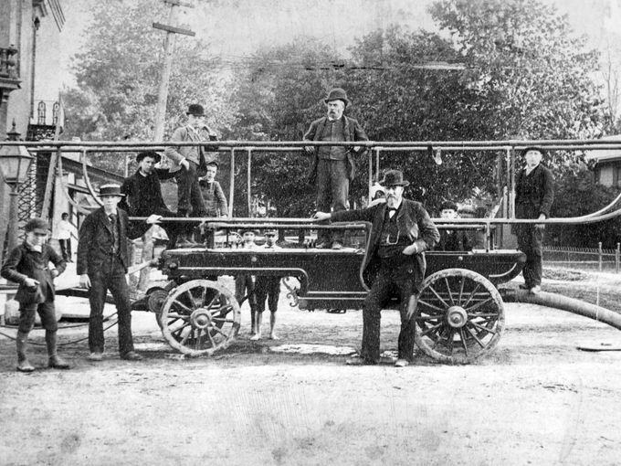 """This picture from the 1890's shows the """"Old Ocean,"""" fire engine in Phelps NY"""