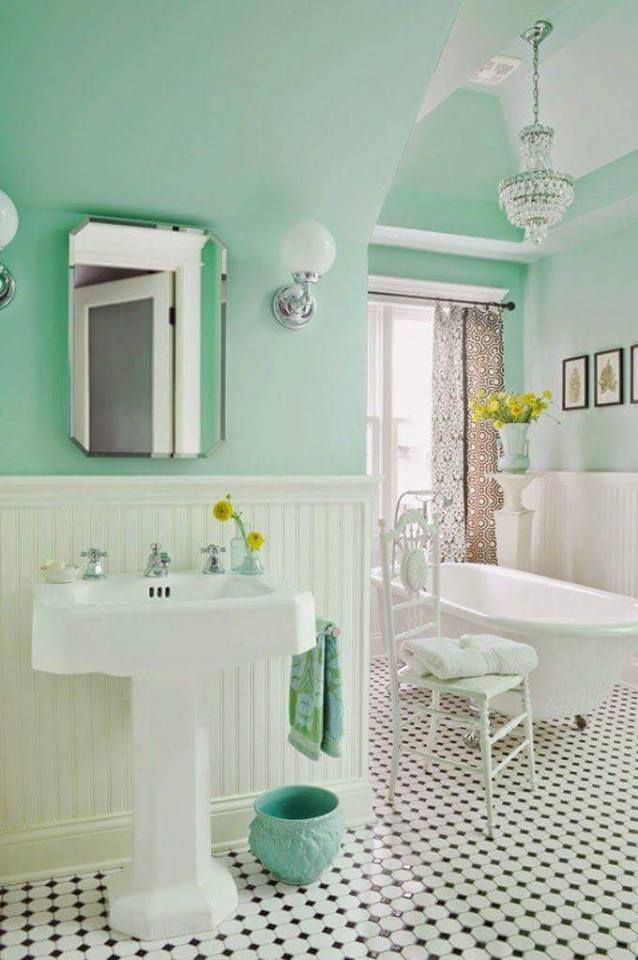 mint green cottage bathroom love the claw foot tub and the pedestal sink