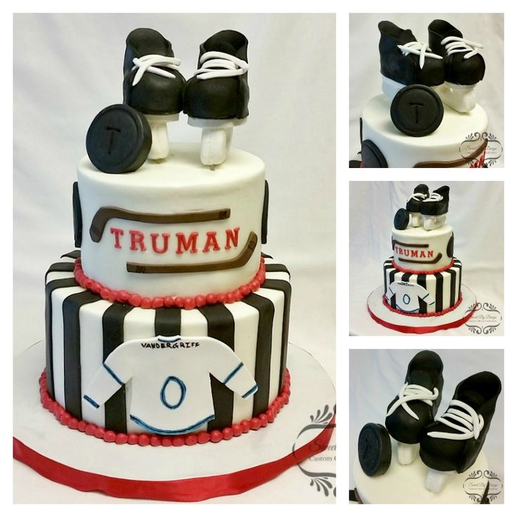 This weekend featured a hockey themed baby shower cake made with Chocolate Cookies & Cream cake and buttercream icing with fondant accents. Yes! Those skates are edible!   Details at www.sweetbydesigncakes.com/blog