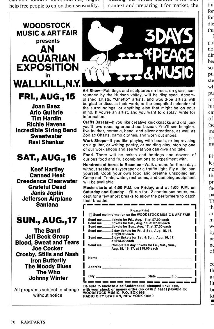 an analysis of the music and culture of the woodstock arts and festival in 1969 Below you can see an original ad for the woodstock music & art festival from the august 1969 issue of ramparts magazine and it's riddled with bad information including the very location of the festival itself right around a month before the whole thing was supposed to go down.