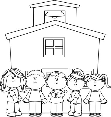 Black and White School Kids at School Graphics from www