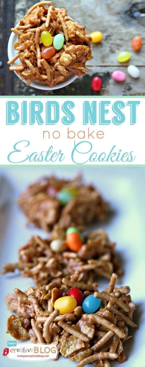 Birds Nest No Bake Easter Cookies | These Easter treats not only taste delicious, but they're beautiful! Find the recipe by clicking on the photo.