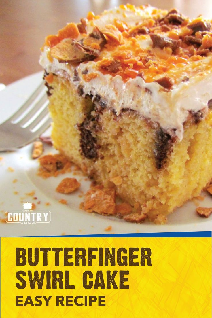 Add a crispety, crunchety, peanut-buttery twist to your next family celebration with the help of this Butterfinger Swirl Cake. This easy dessert recipe is a delicious way to celebrate birthdays, special occasions, or dinner parties with friends. Simply combine Butterfinger candy bars with store-bought cake mix, caramel topping, chocolate syrup, and whipped topping to create this sweet treat.