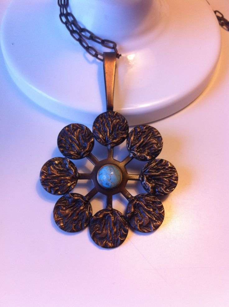 Bronze and turquoise, necklace by K-E Palmberg, Alton, Sweden.
