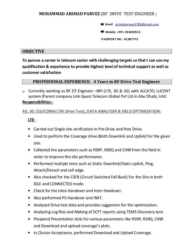 Slideshare Rf Engineer Arshad Cv F4549232 Resumesample Resumefor Resume Pdf Engineering Resume Sample Resume