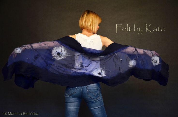 "Felted shawl - silk chiffon, merino wool and silk fibres by Katarzyna Milczarek ""Felt by Kate"" https://www.facebook.com/FeltbyKate/"