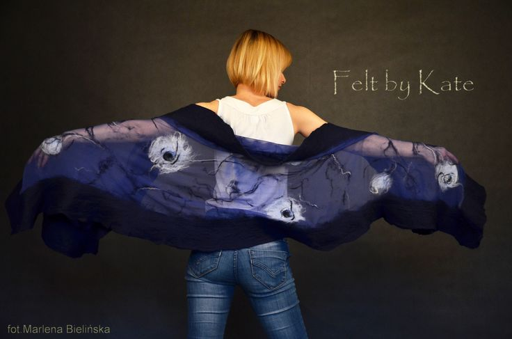 "Felted shawl - silk chiffon, merino wool and silk fibres by Katarzyna Milczarek ""Felt by Kate"" https://www.facebook.com/FeltbyKate/"