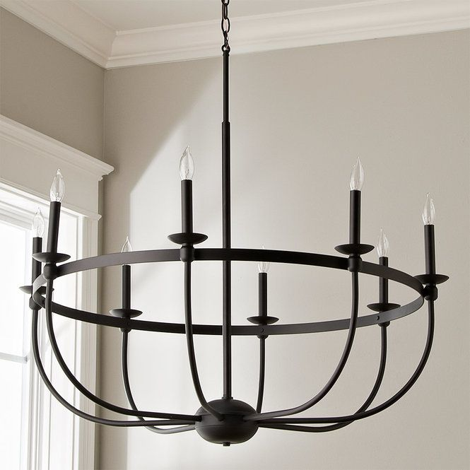 Simply Black Basket Chandelier 8 Light Modern Farmhouse