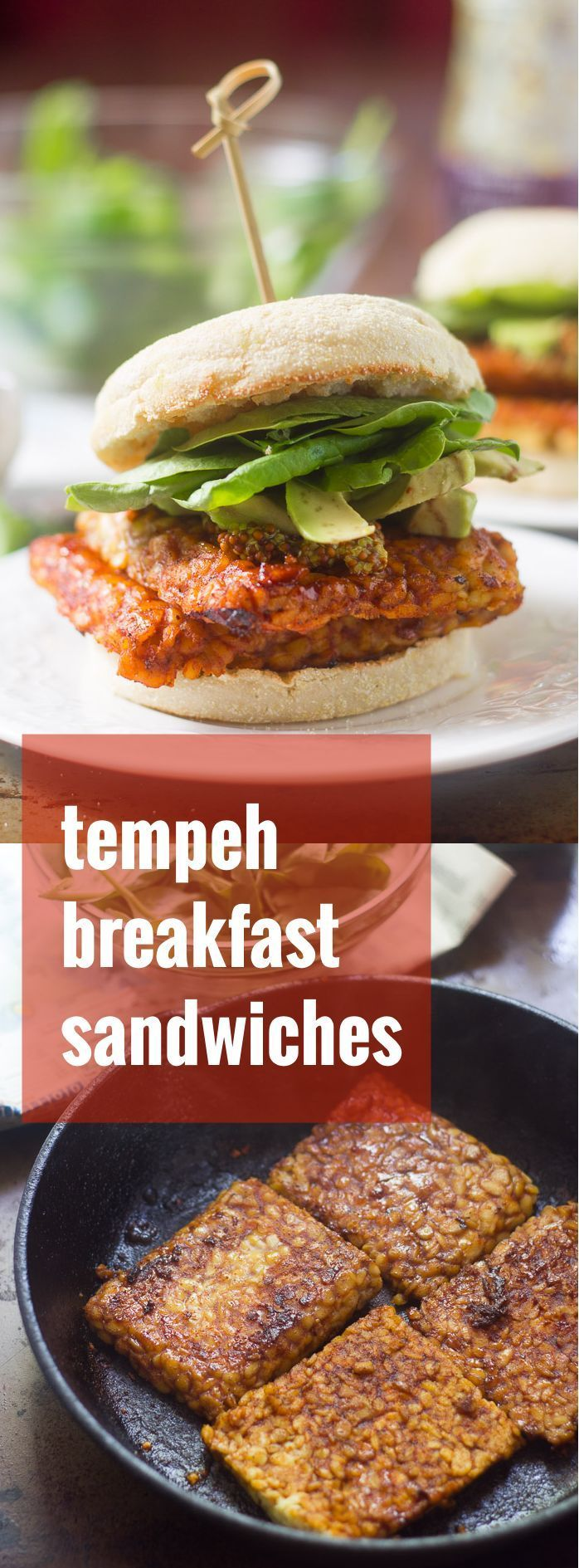 These tempeh breakfast sandwiches are made with pan-fried tempeh in a savory sauce, stuffed in an English muffin and piled with avocado and baby spinach.