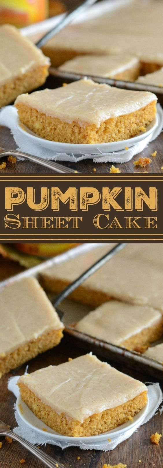Pumpkin Sheet Cake with Cinnamon Cream Cheese Frosting Recipe via The Novice Chef - This cake only takes 30 minutes! This Pumpkin Sheet Cake is a moist spiced pumpkin cake that uses melted butter for easiness. Then you pour on some gorgeous cinnamon cream (Pour Icing Cookies)