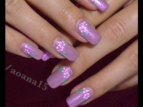 Vintage Pink Flower video nail art design tutorial ,Hand painted flower  #nailart #nails - 46 Best Hand Painted Nail Art Images On Pinterest Hand Painted