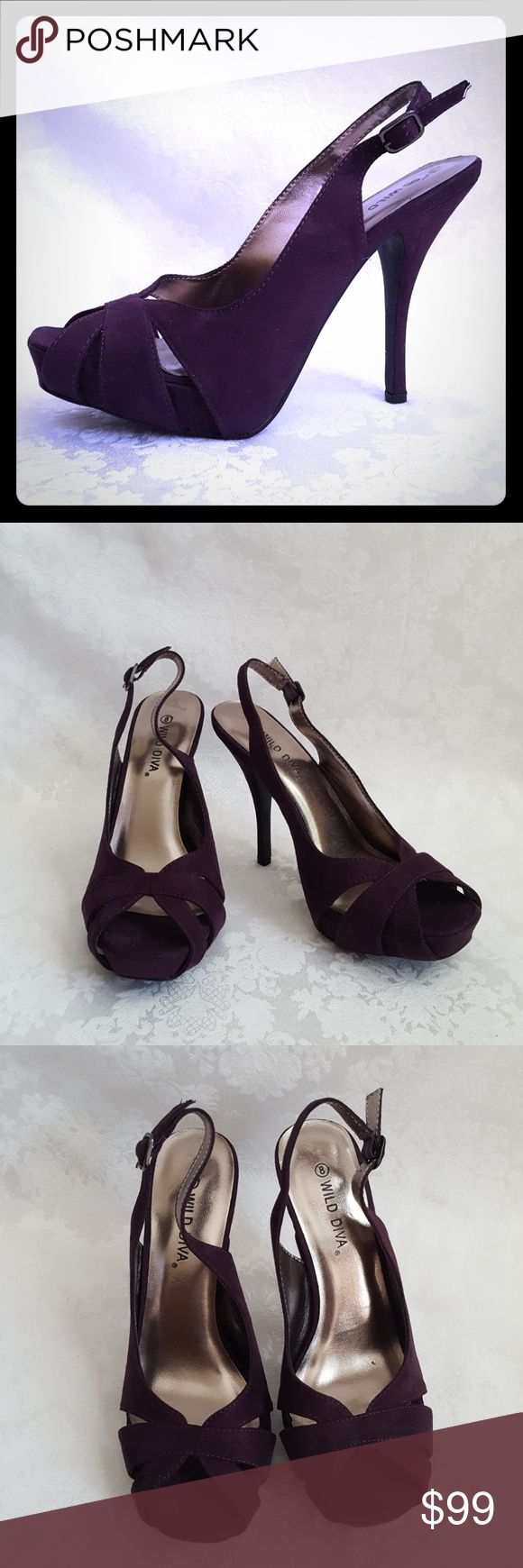 "New Dark Purple Suede High Heel Slingback Sandals Like new! Wild Diva deep plum purple suede-like slingback sandal with 4 3/4"" heel. Adjustable ankle strap with buckle.   Excellent condition. Smoke free and pet free home.   Check out my other listings - 100's of 👠shoes👠, 👢boots👢 and 👜bags👜. Bundle 2 or more and save money! 💲💵💲 Wild Diva Shoes Heels"
