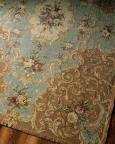 I love needlepoint rugs ~ I only wish that I had places for them.  Soft, beautiful colors