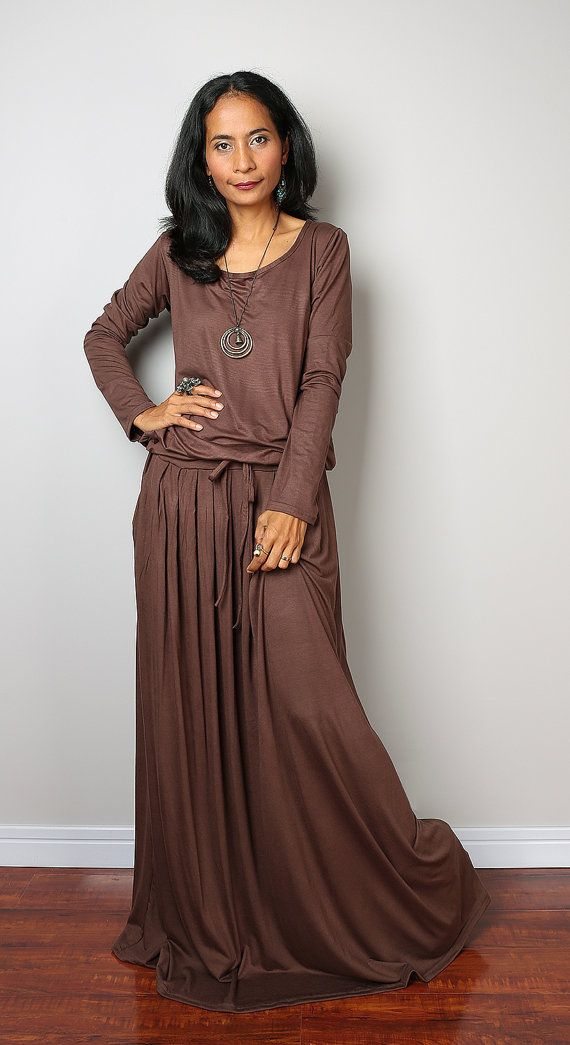 Brown Maxi Dress Soft Brown Long Sleeve Dress : Autumn by Nuichan