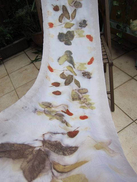 Eco print with rose leaves, eucalyptus leaves and maple leaves