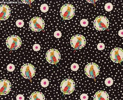 Cockatiel Black, Echino by Etsuko Furuya, Kokka Designer Fabric