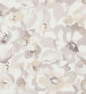 Papel pintado flores grandes amapola de acuarela beige - 2008167