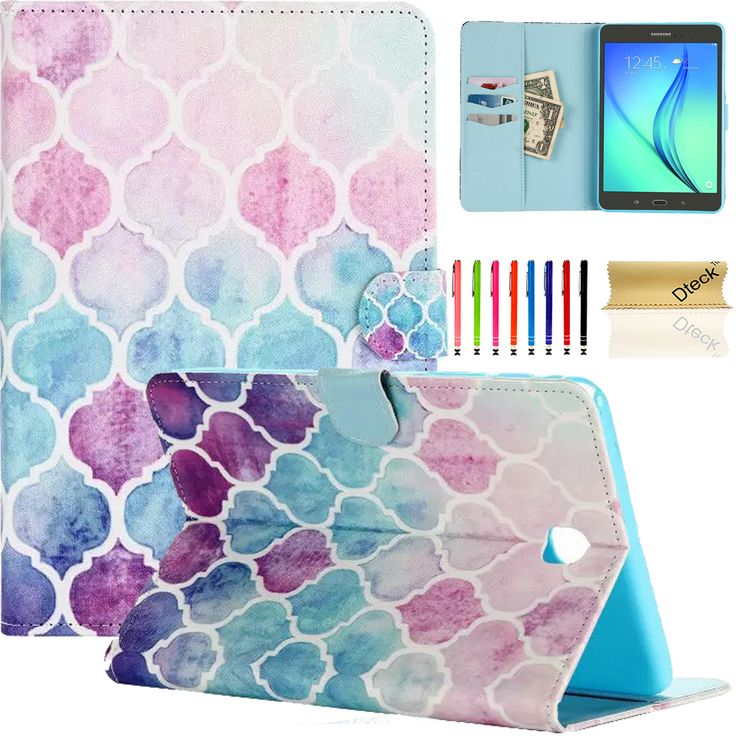 For-Samsung-Galaxy-Tab-A-SM-T350-8in-Leather-Card-Holder-Wallet-Cover-Case-Pen