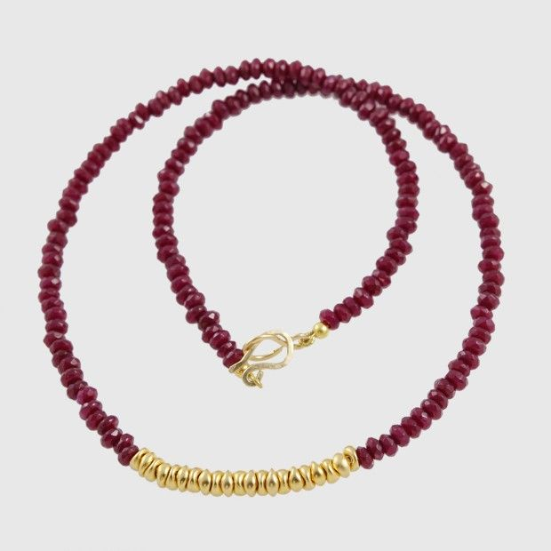 Red Jade and gold beads Necklace, beads are sterling silver plated in 24k gold.
