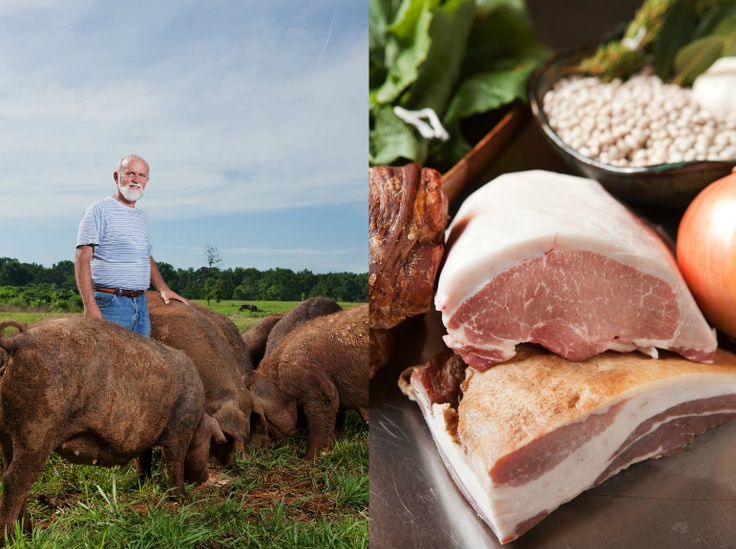 Henry Fudge and his pigs--Berkshire/Duroc crosses--and the luscious product he produces.