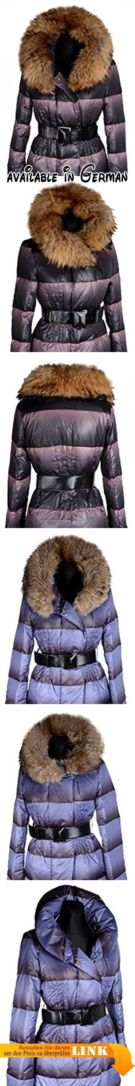 B077RMQQZL : Damen echt Daunen Jacke XXL Raccoon Fell Kragen Winter Jacke Parka Mantel warm GEFÜTTERT 36 38 40 42 S M L Blau Anorak Daunenjacke Daunenmantel (42).