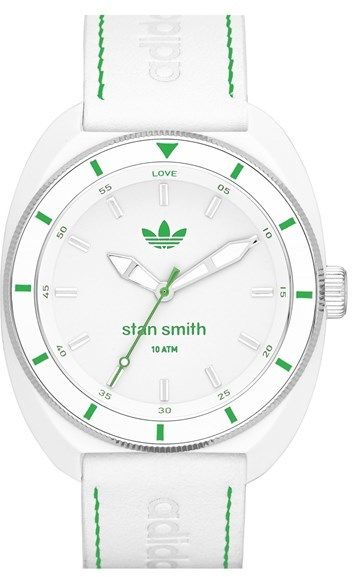 adidas Originals 'Stan Smith' Leather Strap Watch, 42mm