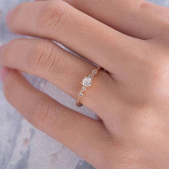 Diamond Engagement Ring Rose Gold Pave Retro Antique Thin Minimalist Anniversary Gift Birthstone Simple Art Deco Stacking Engraving Women