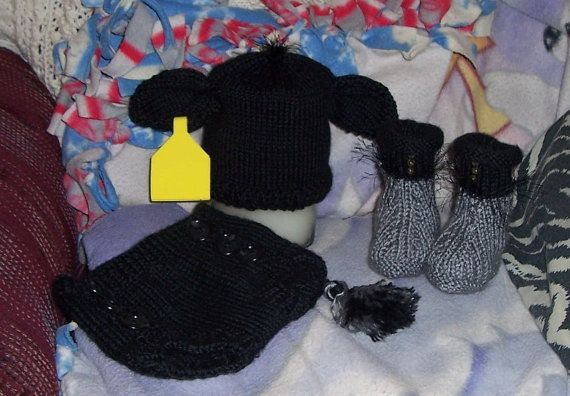 Knit Black Angus Baby Cow Diaper Cover Hat And By