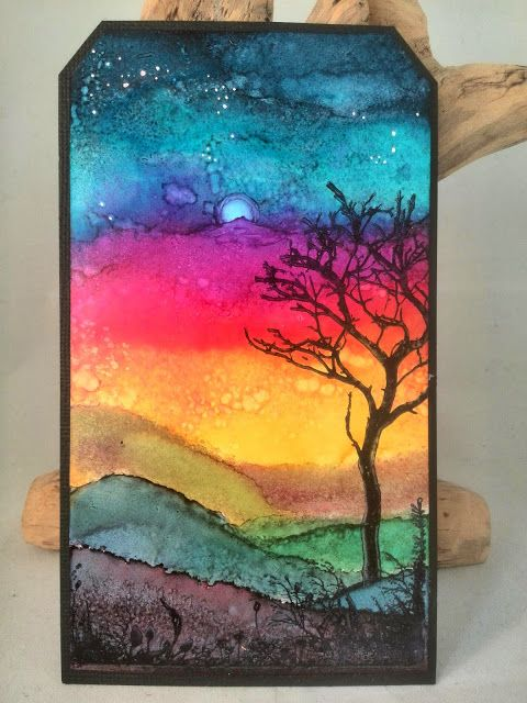 """CreaBoetiek Creations: Tagalong tuesday week 21 """"alcohol inkt"""" w/video tutorial; Oct 2014  NTS: love the background"""