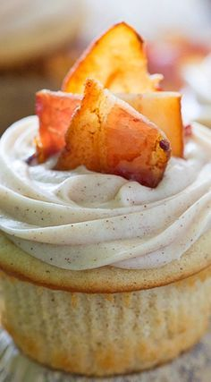French Toast Cupcakes with Maple Frosting and Bacon Recipe | Chocolate and Carrots