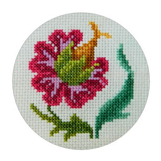 Cross stitch hand embroidered bright red flower poker chips