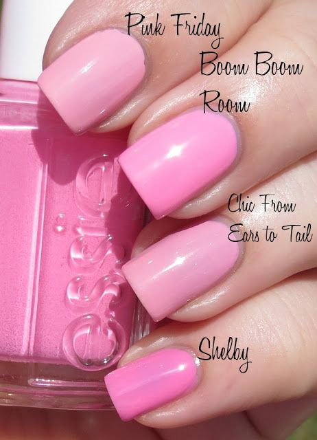 Opi Pink Friday Vs Essie Boom Boom Room Vs Opi Chic From Ears To Tail Vs Zoya Shelby Pink Nail