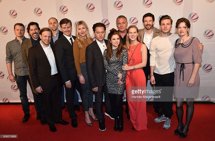 The cast with Genija Rykova, Adrian Topol, Josefine Preuss, Alicia von Rittberg and Bernhard Schir during the 'Die Hebamme II' Munich Premiere at Gloria Palast on February 3, 2016 in Munich, Germany.