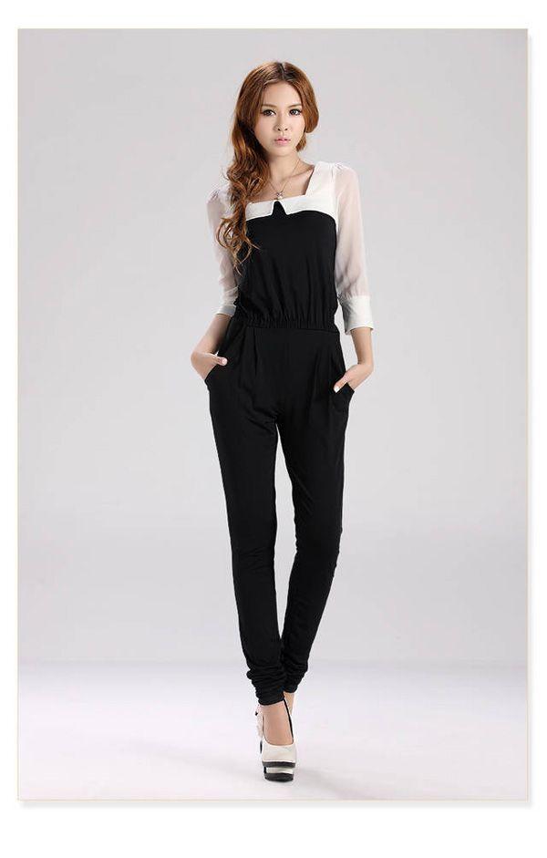 Good Sale Women Square Neck Chiffon Piece Pants Back Invisible Zipper GWF 6064   eBay