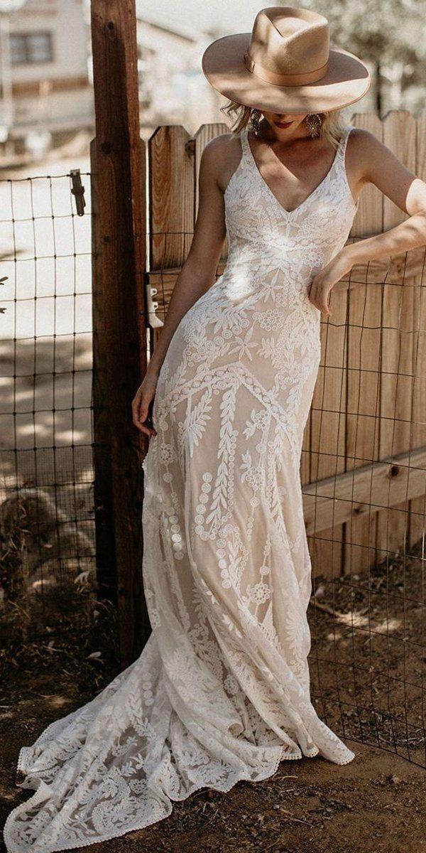 Country Style Wedding Dresses Inspiration Boho Wedding Dress Lace Bohemian Wedding Dress Lace Backless Wedding Dress
