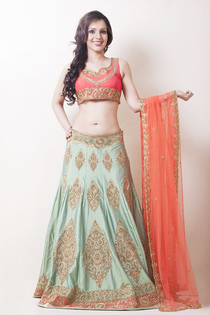 THE ANTIQUE SEA GREEN AND CORAL LEHENGA | Jiya
