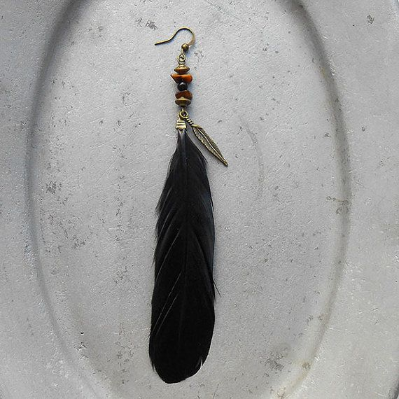 Free Spirit - Earring Strong Wind - black feather with brass feather charms tiger's eye