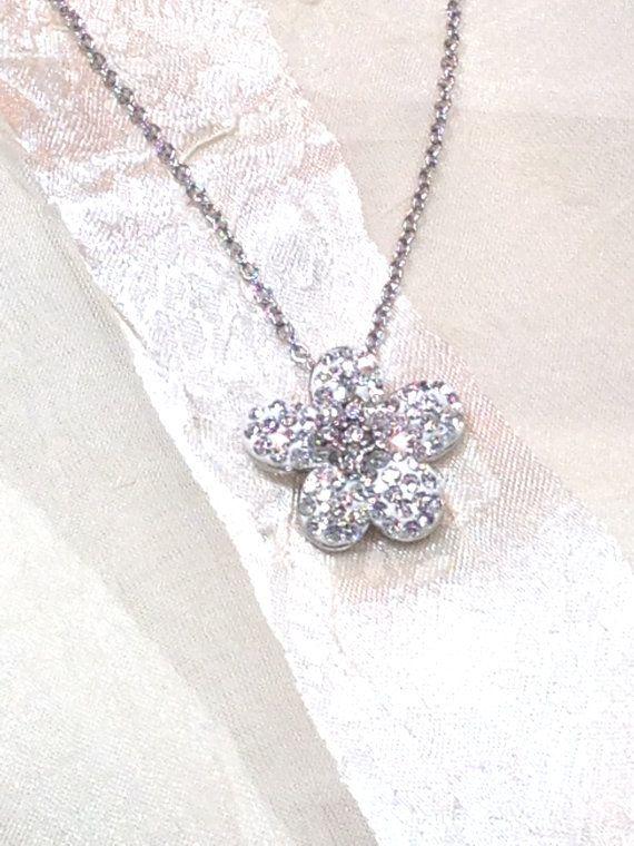 Austrian Crystal Flower Necklace Handmade Jewelry Edelweiss