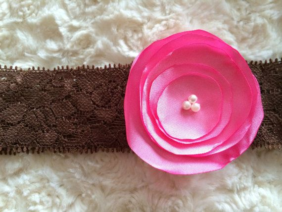 Pink Burned edge satin flower headband with pearls in the centre- 2 1/2'' on Etsy, $5.00 CAD