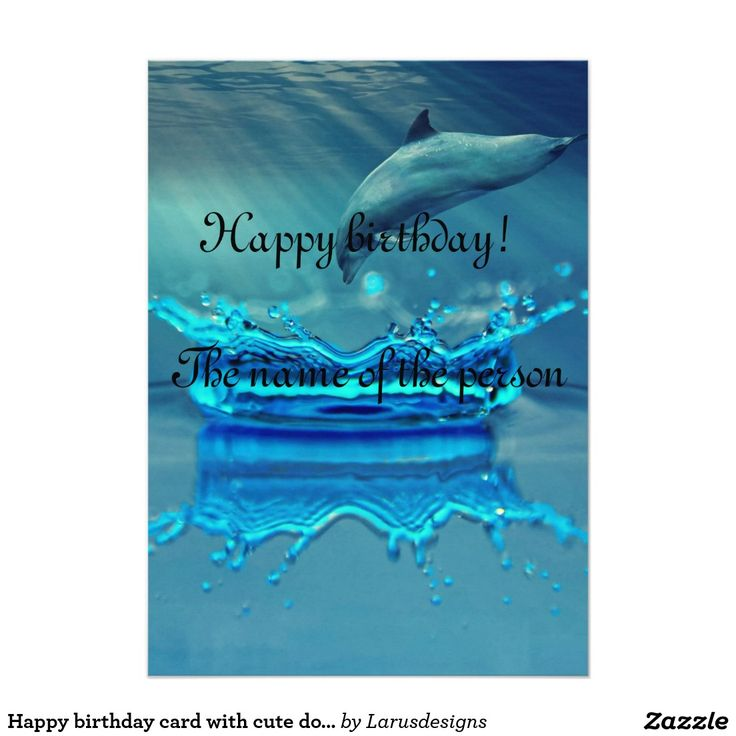 Happy birthday card with cute dolphin in the ocean