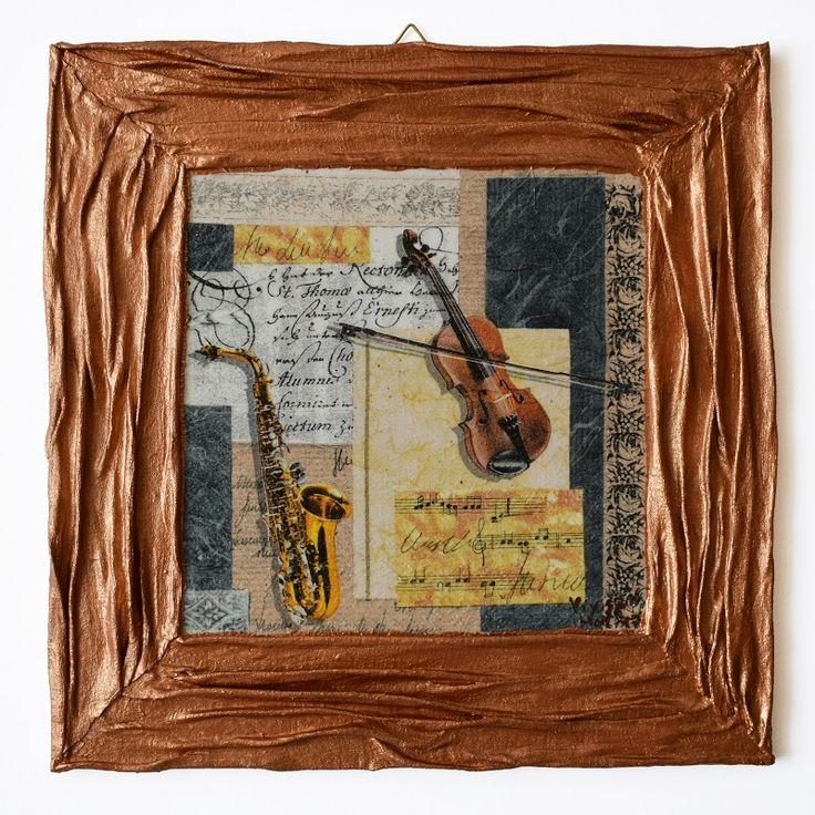 Music series – Violin and saxophone (Zene sorozat – Hegedű és szaxofon) - 25 x 25 cm, 2017, https://www.vivienholl.com/termek/zene-sorozat-hegedu-es-szaxofon/ #paverpol #napkin #szalvéta #music #zene #violin #saxophone #hegedű #szaxofon #pentart #vivienholl